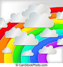 white paper cloud on a rainbow background, eps10