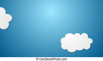 White paper clouds on blue background video animation