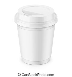 White paper coffee cup with lid template. - White paper...