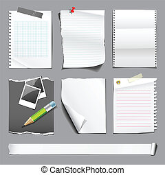 White paper collections, vector illustration