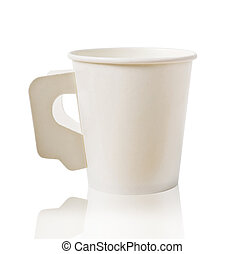 White paper cup coffee isolated on white.