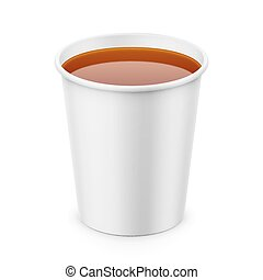 White paper cup with tea template. - White paper disposable...