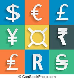 White Paper Currency Signs on colored background - Paper...