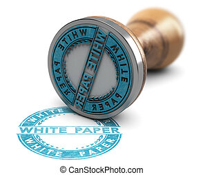 White Paper Document, Rubber Stamp Over White Background