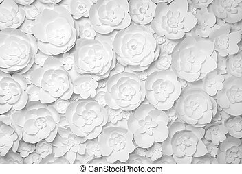 white paper flowers on white background