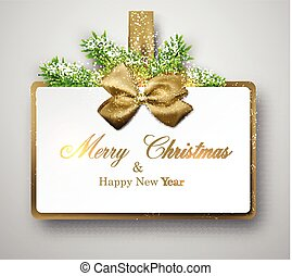 White paper gift card with spruce twigs. - Christmas gift...