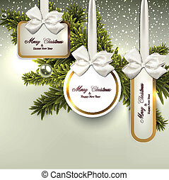 Christmas gift cards with ribbon and satin bows. Vector illustration.