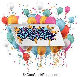 White Paper Graffiti Balloons