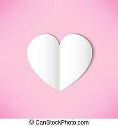 White paper heart on pink background