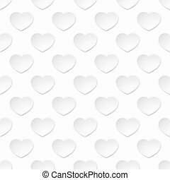 White Paper Heart Seamless Background Pattern