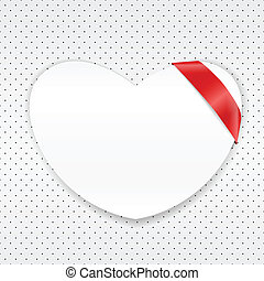 White paper heart with red ribbon