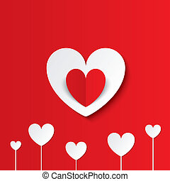 White paper hearts Valentines day card on red.