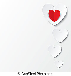 White paper hearts Valentines day card on white