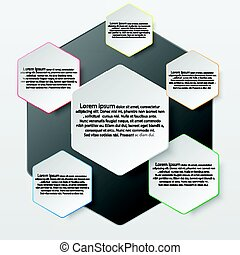 White paper hexabon with colorful edge on drop shadow for website presentation cover poster vector design illustration concept