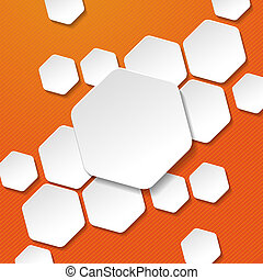 White paper hexagon labels with orange background. Eps 10 vector file.