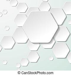 White Paper Hexagon Labels - White paper hexagon labels. Eps...