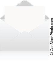 White paper in envelope on white