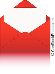 White paper in red envelope