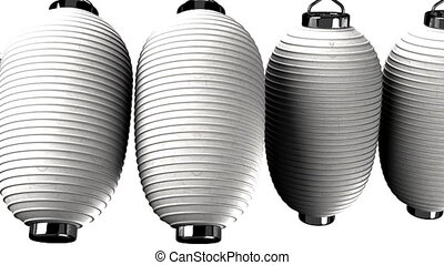 White paper lanterns on white background. Loop able 3D...