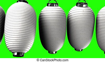 White paper lanterns on white background. Loop able 3DCG...
