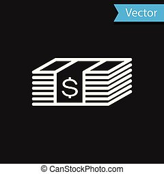 White Paper money american dollars cash icon isolated on black background. Money banknotes stack with dollar icon. Bill currency. Vector Illustration