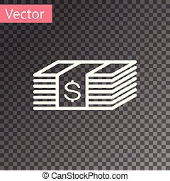 White Paper money american dollars cash icon isolated on transparent background. Money banknotes stack with dollar icon. Bill currency. Vector Illustration