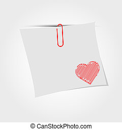 White paper note with clip and red