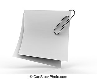 White paper note with red clip