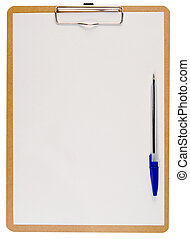 White paper on a clipboard and a blue pen.
