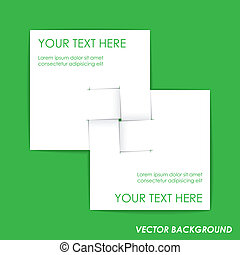 White paper on green background
