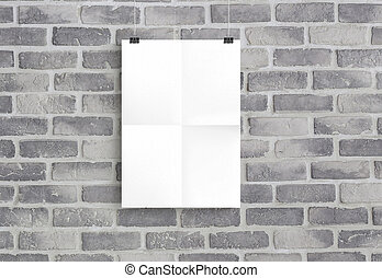 3D illustration of white paper isolated on old grey brick wall