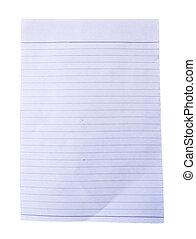 White paper on white background