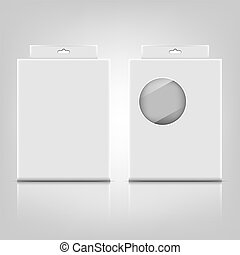 White paper packaging box with reflect on gray background
