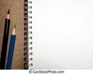 White paper page of Note Book and Pencil