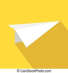 White paper plane icon, flat style
