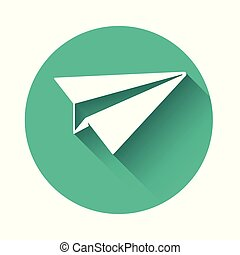 White Paper plane icon isolated with long shadow. Paper airplane icon. Aircraft sign. Green circle button. Vector Illustration