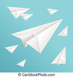 White paper planes on blue sky - Vector white paper planes...