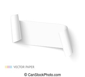 white paper ribbon curved banner with roll realistic vector