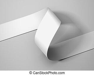 White paper ribbon on light gray background, 3d rendering.