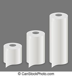 White Paper Roll Set Isolated on Grey Background