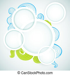 White paper round frames for text