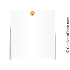 White paper sheet for memo with pin isolated on white