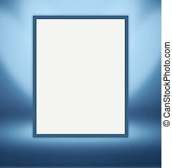 White paper sheet for photos hanging on the light blue wall...