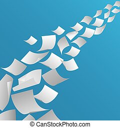 White paper sheets flying in the air. Fly page blank,...