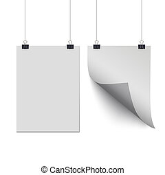 White paper sheets hanging on paper clips isolated on transparent background. Vector design elements.