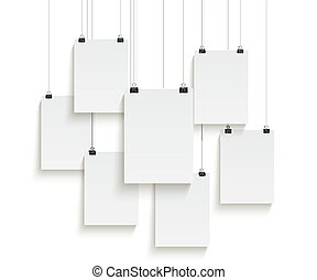 White paper sheets hanging on paper clips isolated on white background. Vector design elements.