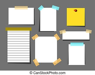 White paper sheets with scotch tape set. Sheet page for reminder message.Vector illustration
