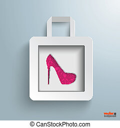 White Paper Shopping Bag High Heels