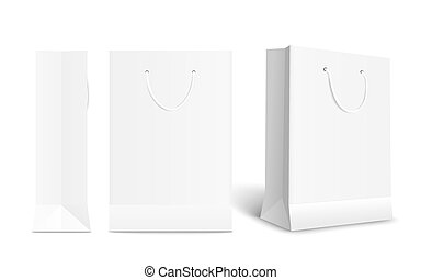 White paper shopping bag set with different angles. Front and side view of retail purchase packaging