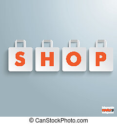White Paper Shopping Bag Shop